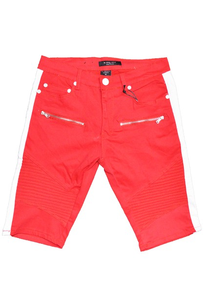 Side Stripe Denim Moto Short Jeans - orangeshine.com