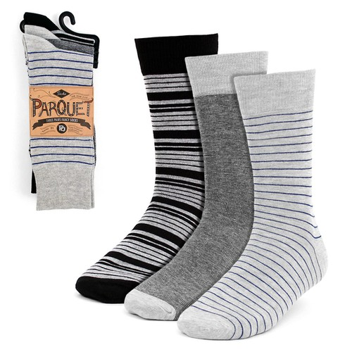 3 Pairs Men Gray Striped Dress Socks - orangeshine.com