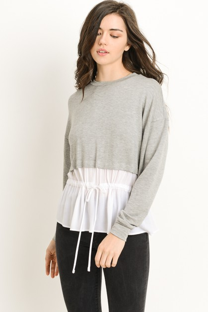 Drawstring Contrast Sweater - orangeshine.com