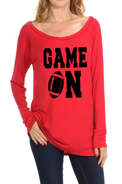 GAME DAY GRAPHIC LONG SLEEVE TOP - orangeshine.com