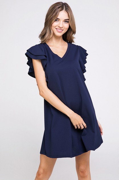 Ruffle Sleeve Short Dress - orangeshine.com