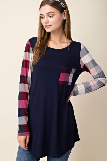 Plaid Long Sleeve Top  - orangeshine.com