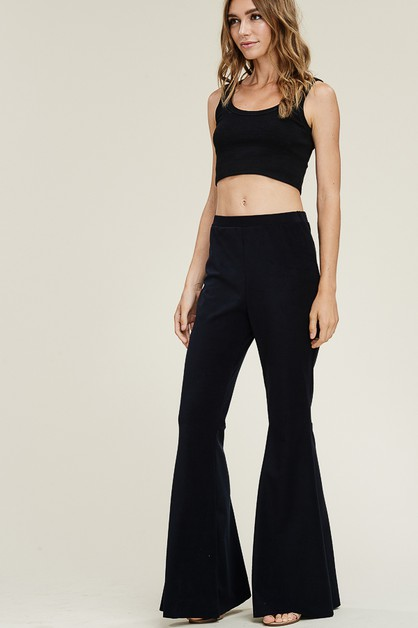 Velvet flare black pants - orangeshine.com