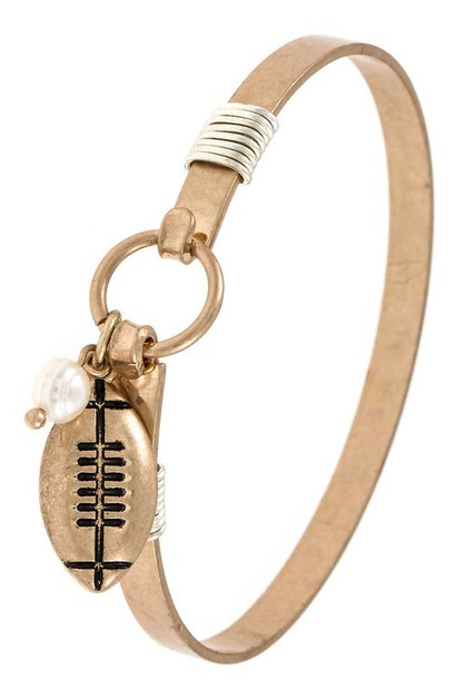 Football Dangling Charm Bangle Brace - orangeshine.com