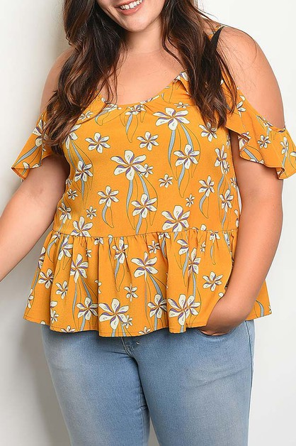 OFF SHOULDER RUFFLE DETAIL FLORAL TO - orangeshine.com