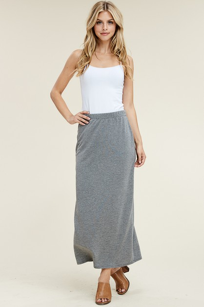 SOLID LOOSE FIT FULL LENGTH SKIRT  - orangeshine.com
