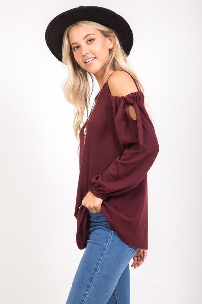 SIMPLE SOLID COLD SHOULDER TIE TOP - orangeshine.com