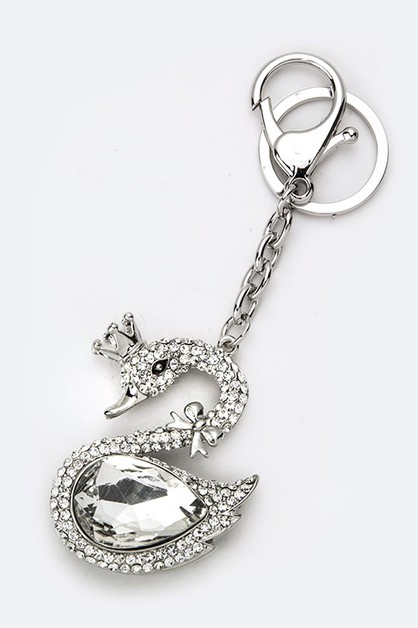 Crystal Royal Swan Key Charm - orangeshine.com