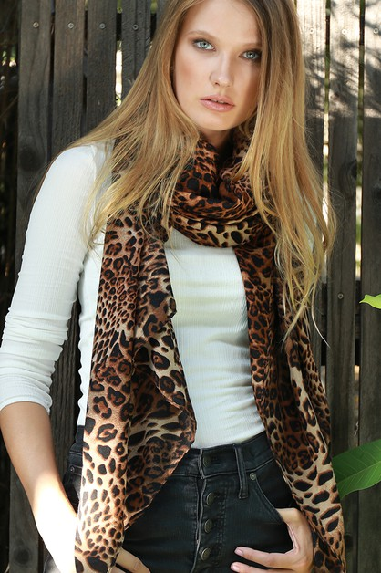 Animal Print Oblong Scarf - orangeshine.com