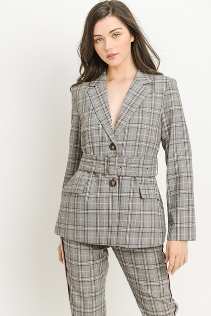 Belted Plaid Blazer - orangeshine.com