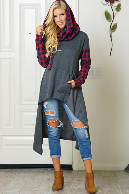 HIGH-LOW PLAID HOODIE  SWEATER  - orangeshine.com