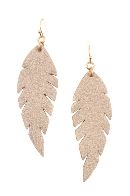 FAUX LEATHER FEATHER DANGLE EARRING  - orangeshine.com