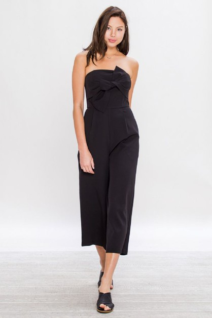 SOLID BLACK JUMPSUIT WITH WIDE CROP - orangeshine.com