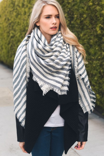Soft Stripe Knit Blanket Scarf - orangeshine.com