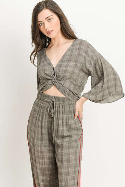 Plaid Twist Crop Top - orangeshine.com