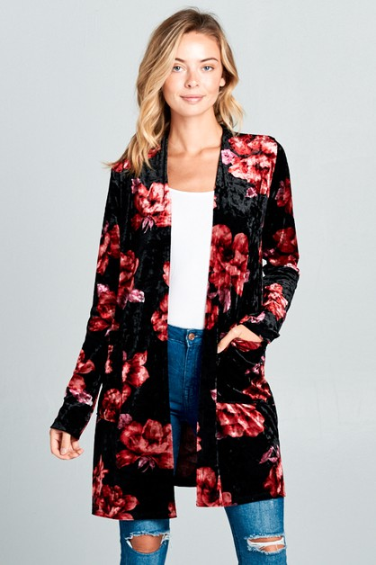 FLORAL VELVET POCKET LONG CARDIGAN - orangeshine.com