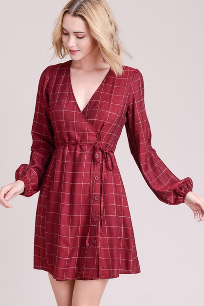 Windowpane Wrap Dress - orangeshine.com