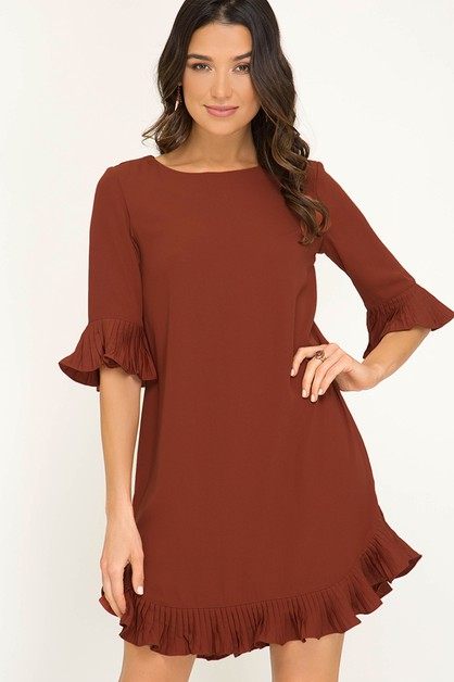DRESS WITH PLEATED RUFFLE DETAILS - orangeshine.com