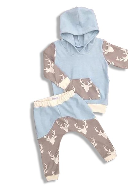 Blue Deer Hoodie 2 pieces Baby - orangeshine.com
