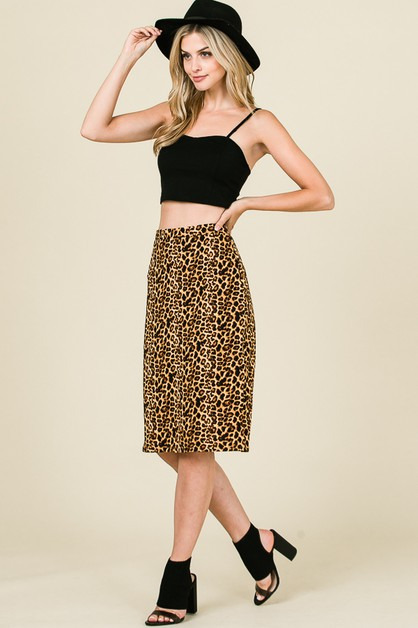 ANIMAL PRINT SKIRT WITH WAISTBAND - orangeshine.com