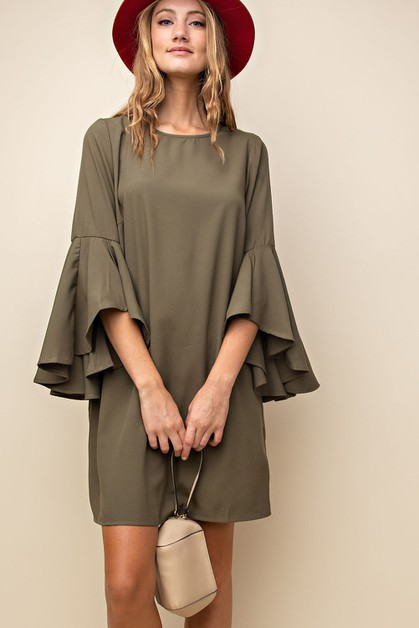 draped bell sleeve shift dress - orangeshine.com