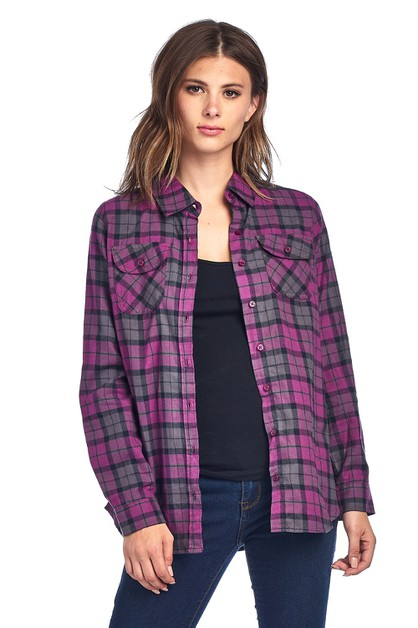 Plaid Flannel Long Sleeve Shirts - orangeshine.com