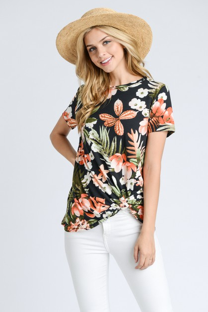 Floral Print Short Sleeve Top With S - orangeshine.com