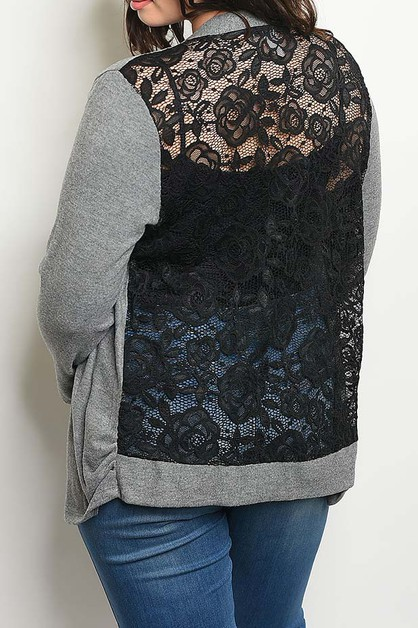 LACE SHEER BACK DETAIL PLUS CARDIGAN - orangeshine.com
