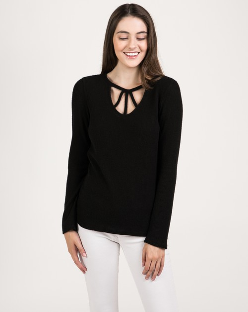 FRONT STRAPPY LONG SLEEVE TOP  - orangeshine.com
