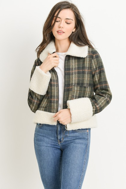 Plaid Sherpa Jacket - orangeshine.com