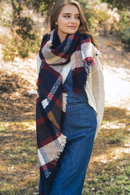 Oversized Chunky Plaid Asymmetrical - orangeshine.com