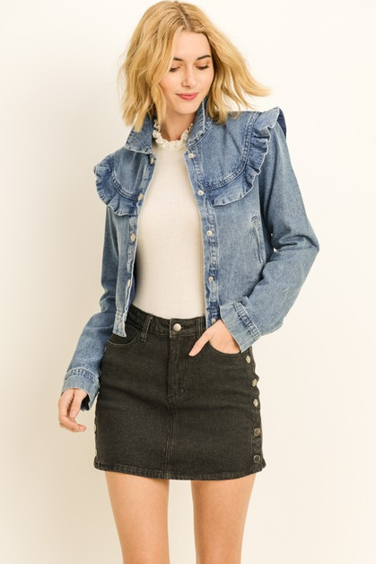 Denim Ruffle Jacket - orangeshine.com