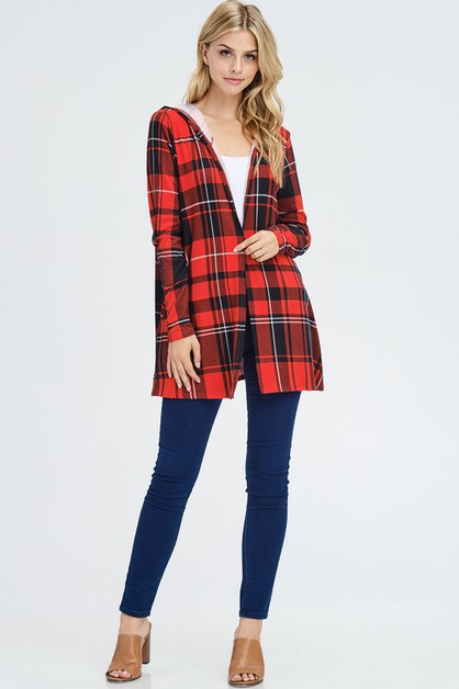 Plaid Hooded Cardigan  - orangeshine.com