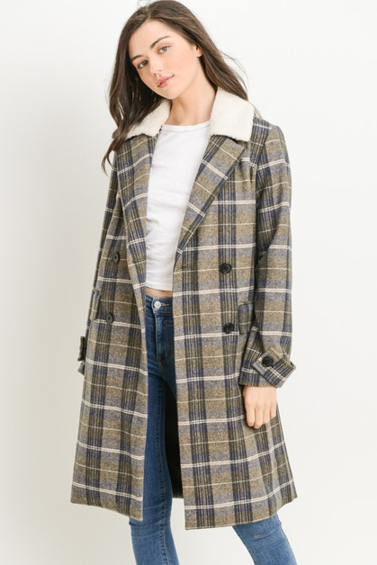 Plaid Sherpa Lined Coat - orangeshine.com