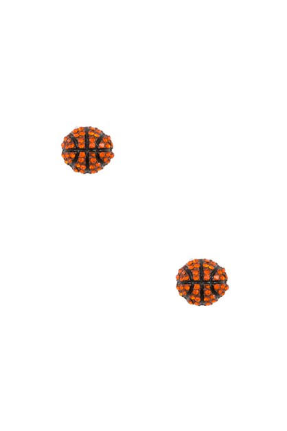 BASKETBALL RHINESTONE PAVE POST EARR - orangeshine.com