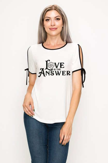 Love Is The Answer Tie Sleeve Top - orangeshine.com