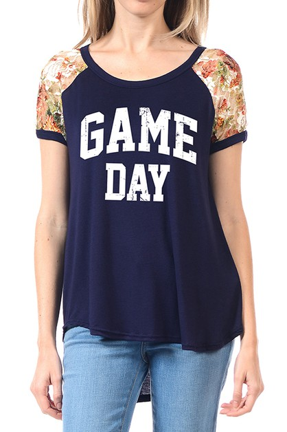 SHORT SLEEVE GAME DAY GRAPHIC  TOP - orangeshine.com