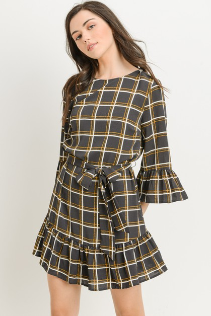 Windowpane Check Print Dress - orangeshine.com