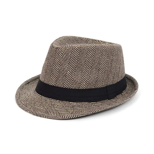 Fall-Winter Brown Trilby Fedora Hat - orangeshine.com