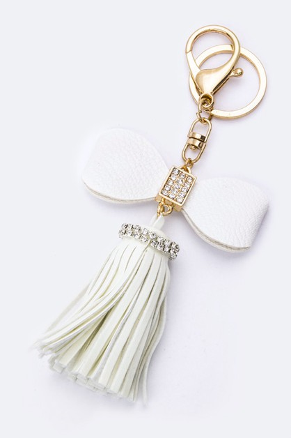 Crystal Bow and Tassel Key Charm - orangeshine.com