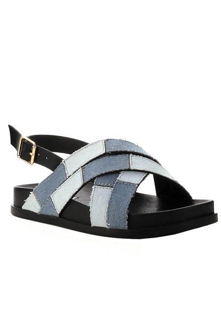 TWO TOMNE DENIM CRISSCROSS FLAT  - orangeshine.com