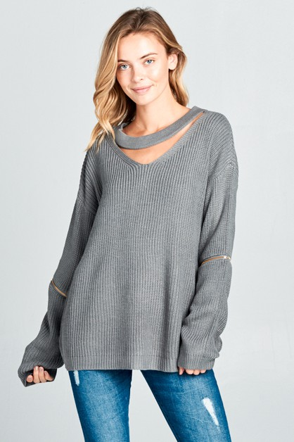 LACE UP V NECK W/ ZIPPER SWEATER - orangeshine.com