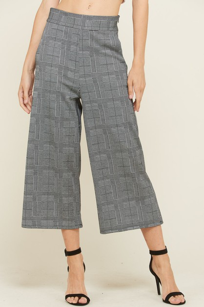 CHECKER HIP POCKET WIDE LEG PANTS - orangeshine.com