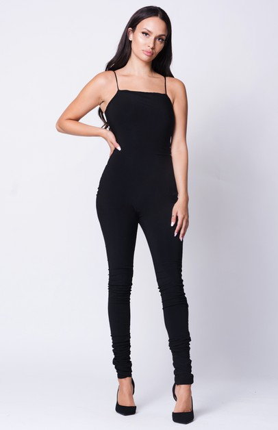 DOUBLE LAYERED SOLID JUMPSUIT - orangeshine.com