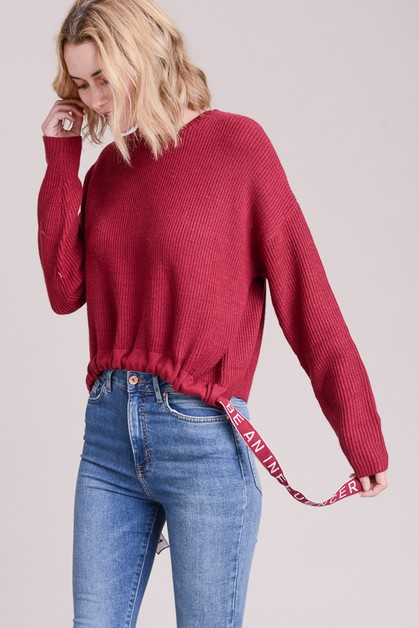 Inspirational Ribbon Tape Sweater - orangeshine.com