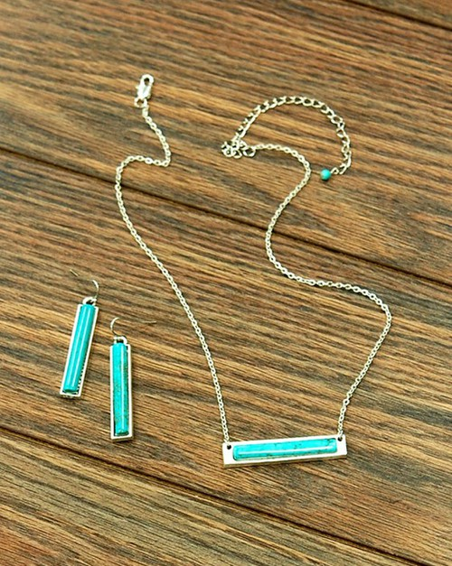 Natural Turquoise Bar Necklace  - orangeshine.com
