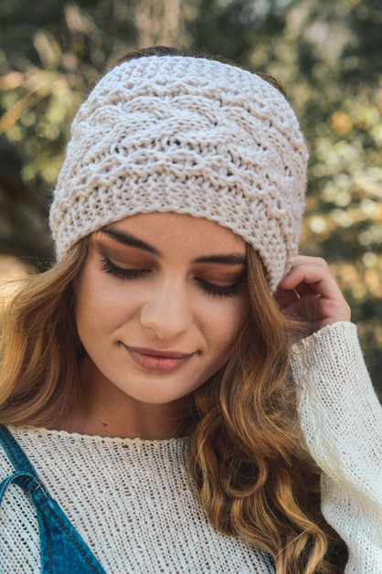 Wide Cable Knit Headband - orangeshine.com