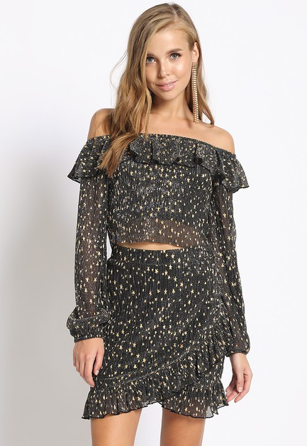 GOLD STAR PRINT RUFFLE OFF SHOULDER  - orangeshine.com