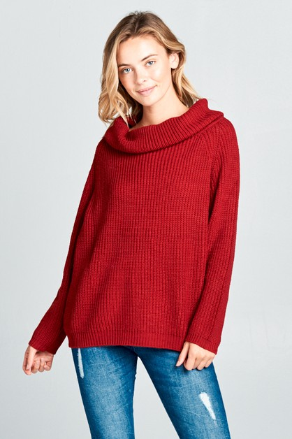 BIG COWL NECK W/LONG SLEEVE SWEATER - orangeshine.com