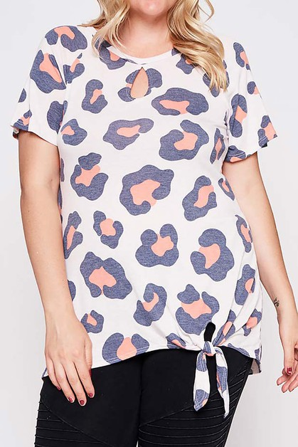 ANIMAL PRINT SHORT SLEEVE TOP  - orangeshine.com